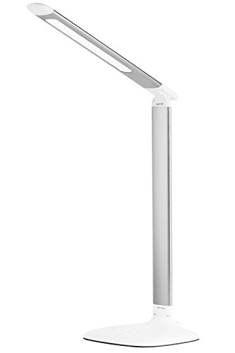 EROS Foldable Dimmable LED Desk Lamp with Easy Touch Operation - 6-Level Dimmer - Built-In USB Charging Port - Silver