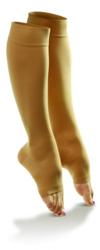 Dr. Comfort Shape to Fit Sheer Open Toe Hosiery, 15-20 mmHg Moderate Support Compression Nylon Stocking, Nude, - Shape To Fit