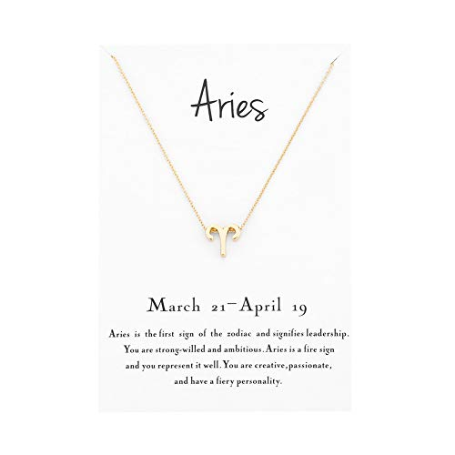 (Mocya Aries Zodiac Necklace Women Jewelry Horoscope Constellation Pendant Charm Astrology Birthday Gifts )