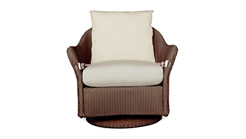 Lloyd Flanders 72291-070-899 Freeport Collection Swivel Lounge Glider in Chocolate Loom Finish, Dupione Pearl (Lloyd Patio Furniture)