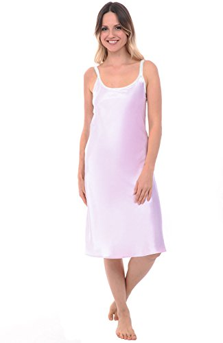 Del Rossa Women's Satin Nightgown, Contrast Scoop Neck Tank Nightie, XL Iris (A0786IRSXL) (Long Sleeved Gown)