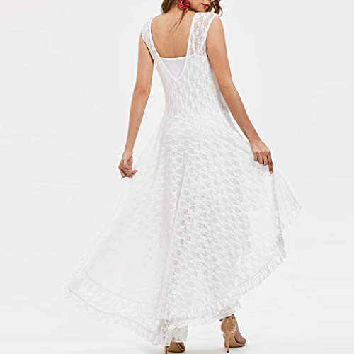 Sunhusing Women's Round Neck Sleeveless Camisole Cutout Lace Party Dress Sexy Irregular Hem Prom Gown White