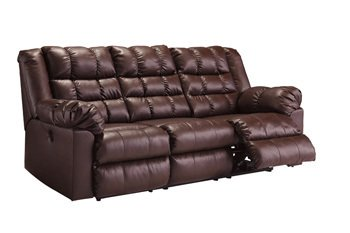(Signature Design by Ashley 8320288 Brolayne DuraBlend Collection Reclining Sofa, Saddle)