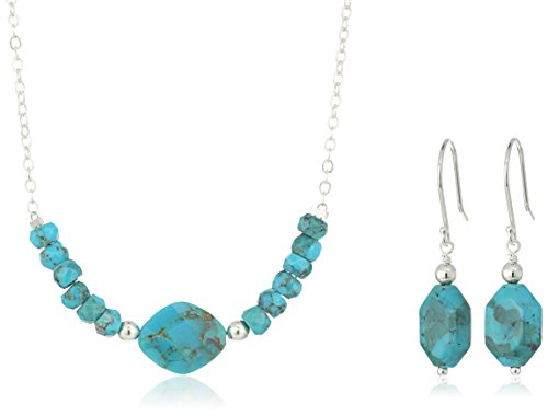 Genuine Stabilized Chinese Turquoise Necklace and Earrings Jewelry Set