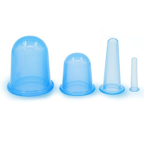 VASSOUL Anti Cellulite Silicone Neck Face Body Massage Cupping Cups Blue x 4 Sizes with full Instructions Image