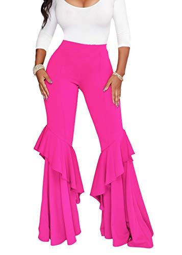 Feditch Women's Eye-catching High Waist Ruffle Bell Bottom Wide Leg Flare Pants Trousers Rose X-Large -