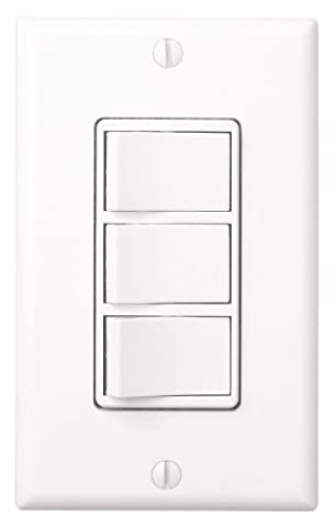 Broan 77DW Three Switch Multi-Function Control, White (3 Function Light Switch)