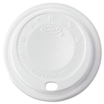 Dart White Cappuccino Lid - Dart 8EL Cappuccino Dome Sipper Lids,