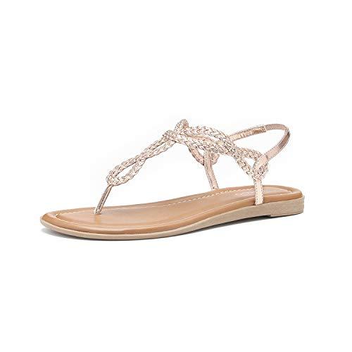 - Women's Braided T-Strap Sandals Slingback Flats Roman Gladiator Thongs (6, Rose)