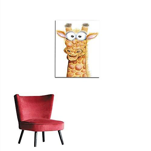 longbuyer Photographic Wallpaper Cute Bug-Eyed Giraffe on a White Background Mural 16