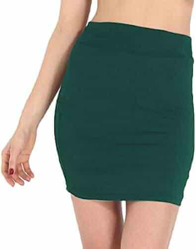 edede552a1c7aa KLJR Women Bodycon Lightweight Cotton Solid Stretchy Stylish Mini Skirt