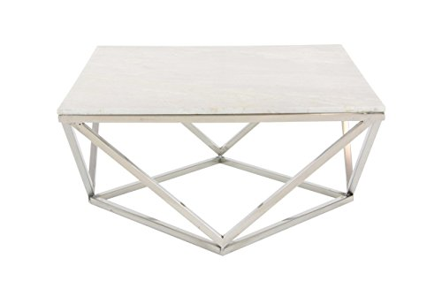 """Deco 79 Square White Marble Coffee Table with Silver Stainless Steel Modern Geometric Base, 29"""""""