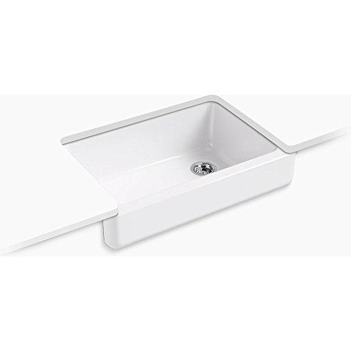 Kohler Bowl (KOHLER K-5826-0 Whitehaven Self-Trimming Under-Mount Single-Bowl Sink with Short Apron, White)