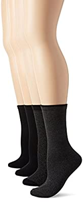 PEDS Women's Classic Black Solid and Patterned Crew Socks 4 Pairs
