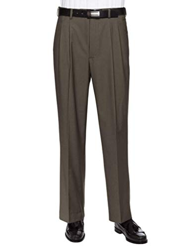 GIOVANNI UOMO Mens Pleated Front Expandable Waist Dress Pants Olive 38W x 30L