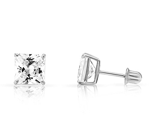 (14k White Gold 6mm Cubic Zirconia Princess Cut Stud Earrings with Screw Backs (6 MM))