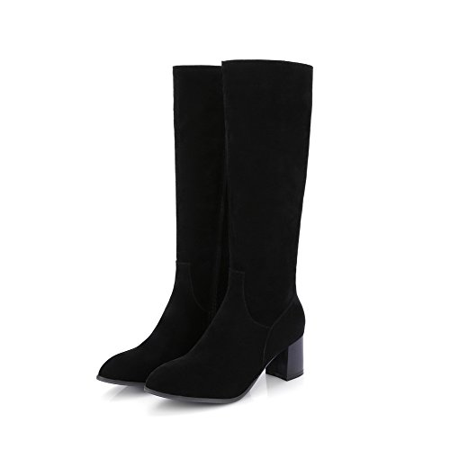 Kitten Imitated Allhqfashion Solid Toe Closed Women's Heels Round Black Top Boots High Suede zUqSYwU