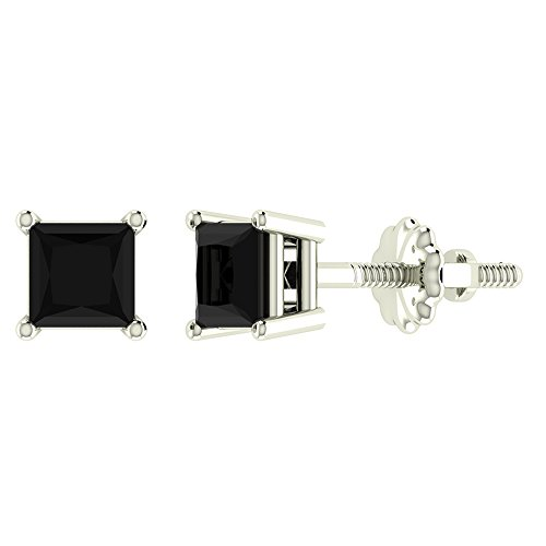 1/2 ct tw Natural Black Natural Princess Cut Diamond Stud Earrings 14K White Gold Screw (14k Gold Design Earrings)