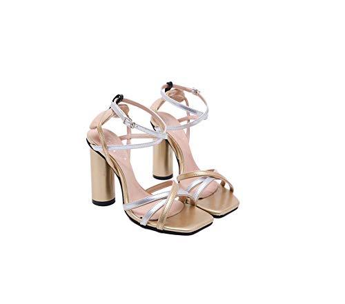 Multi Sangle Pompe Ghfjdo Féminin Femmes Croix Sandales Talon Stiletto Metallic Robe Open Sandale Toe U7z6Zx6wqE
