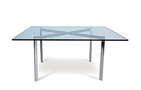 Mesa BCN-90, baja, acero inoxidable, cristal, 90x90 cms ...