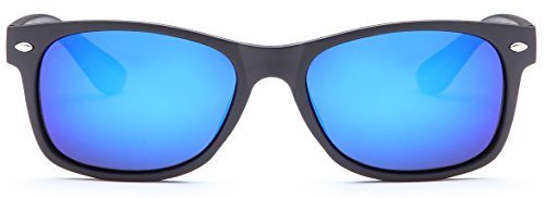 Gamma Ray Polarized UV400 Classic Style Sunglasses with Mirror Lens, Matte Black Frame Blue Mirror Lens>