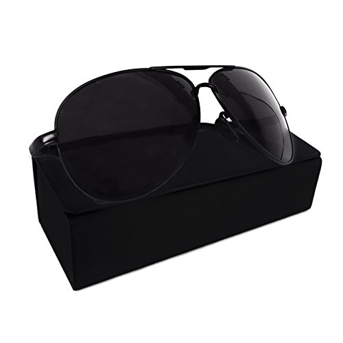 Pro Pilot Sunglasses | Magnificent Polarized Aviator Sunglasses for Women and Men for Superb UVA-UVB Protection | Sturdy Steel Alloy Frame and Dark Anti-Scratch TAC Lenses | Bonus Elegant Case - Black Sunglasses Out