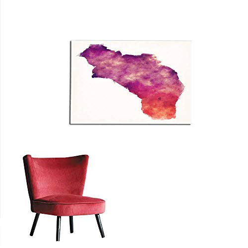 """homehot Wallpaper La Rioja Province Watercolor map of Argentina in Front of a White Background Mural 36""""x24"""""""