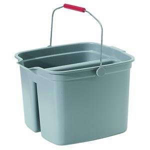 Rubbermaid 261700GRAY Double Pail Cleaning Buckets, 17-Quarts, Gray