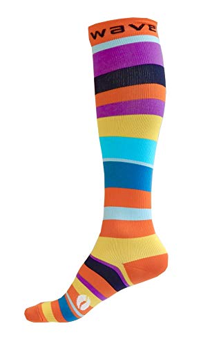 Compression Socks (1 pair) for Women & Men by Wave (Happy Stripes, S/M)