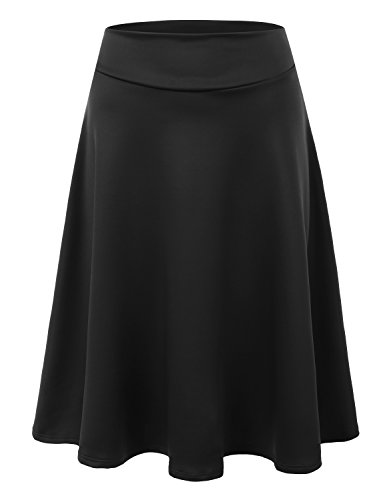 Doublju Womens High Waist Midi A-Line Skirt Black 2XL