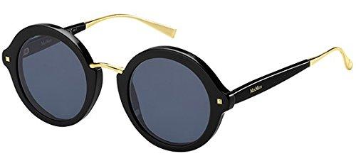 Max Mara Women's Mm Needle VIII Round Sunglasses, BLACK, 48 ()