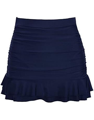 1cb298d137e61 Hilor Women's Skirted Bikini Bottom High Waisted Shirred Swim Bottom Ruffle  Swim Skirt