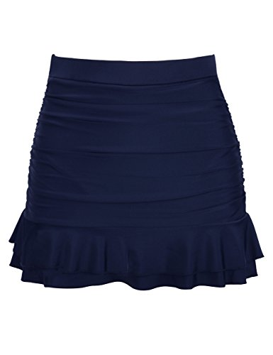 Hilor Women's Skirted Bikini Bottom High Waisted Shirred Swim Bottom Ruffle Swim Skirt Navy Tag Size 18(fits 14)