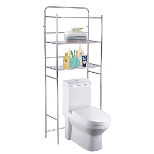 Tangkula 3-Tier Toilet Shelf Chrome Bathroom Space Saver Over The Toilet Shelf Organizer Multi-Layer Classic Design Metal Frame Study Waterproof Free Standing Bathroom Shelves (60