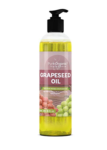 Vitis Vinifera Grape Seed Oil - Grape Seed Oil (16 oz) by Pure Organic Ingredients, Refined, Odorless, Vegan, Kosher, Gluten Free, Non-GMO, Skin & Hair Care, Clear Bottle with Push Open Cap