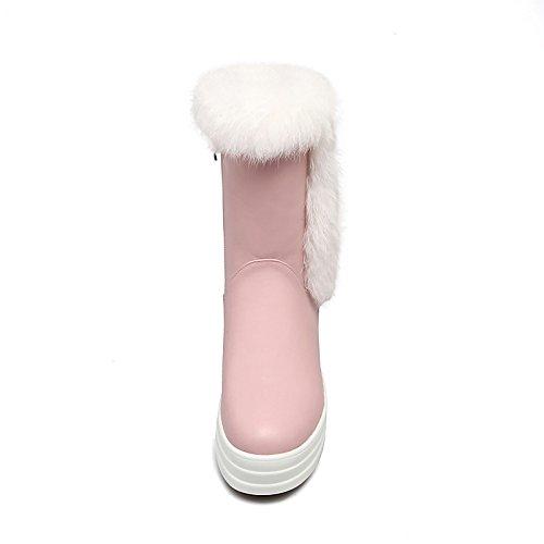 Abbigliamento Boots Stivali Calf HSXZ Toe Casual Snow Scarpe per Bootie Black pu Round Flat cadono inverno stivaletti Stivali stivaletti donna Fashion Mid stivali v0Rrqv