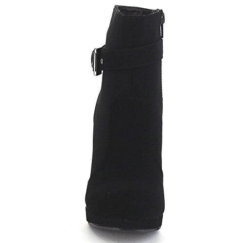 Black Booties Stiletto Buckle 15 George Top Heel Moda Ankle Women's Strap xfUq6zv