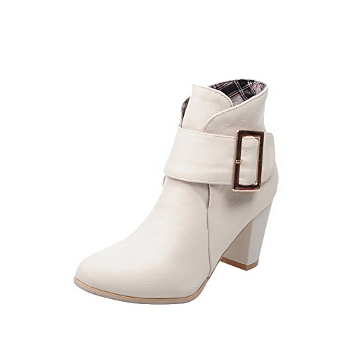 AgooLar Buckle PU Heels Solid Top Low Boots Women's Beige High rpqw5ZBr7