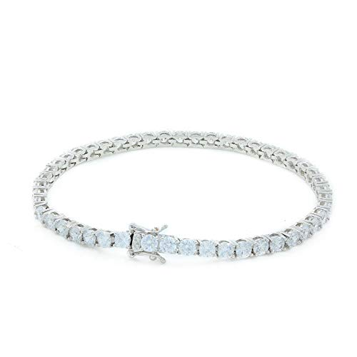 Bling Bling NY Unisex 4mm Real Solid 925 Sterling Silver Tennis Chain Iced Out Hip Hop CZ One Row Choker Necklace 16-30