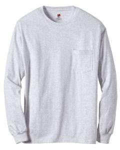 Hanes Men's Tagless Long Sleeve T-Shirt with a Pocket - Small - Ash - Ash T-shirt Grey Others