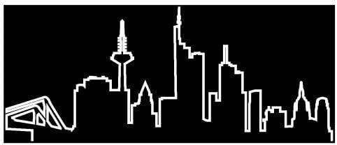 Skyline4u Kontur Frankfurt Skyline Silhouette Aufkleber In 8 Größen Und 25 Farben 15x6 2cm Weiß Küche Haushalt