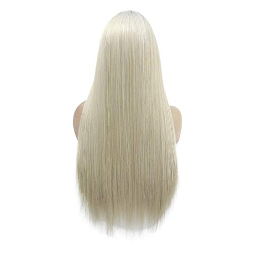 Weiweidian Natural Curly Lace Front Synthetic Wig Fashion Women Gold Long Straight -