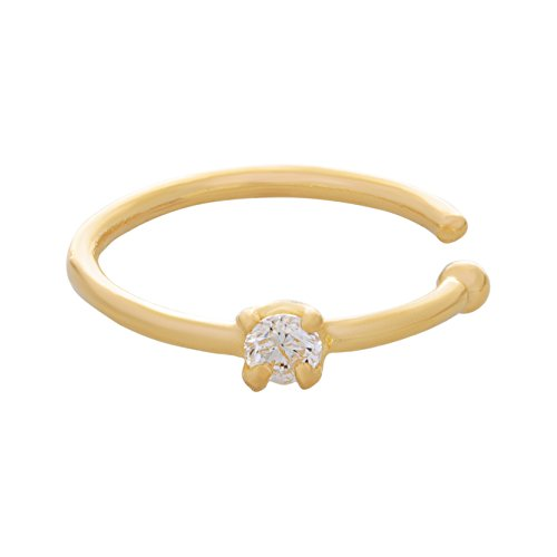 Lavari - 14K Yellow Gold 1.3mm .01 Carat Genuine Diamond Open Hoop Nose Ring 20 Gauge