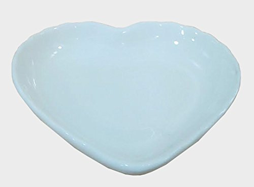 Super White Heart Shape Small Wavy Edge Porcelain Sauce Dish (12 Count) by Sunrise Kitchen Supply