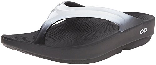 OOFOS Women's Oolala Thong Flip Flop, Black/Cloud/White, 9 B(M) US by OOFOS