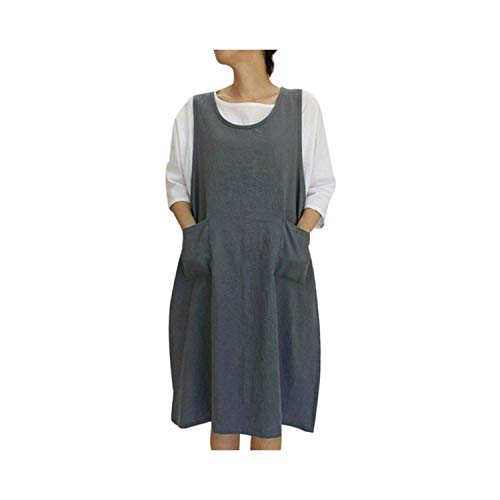 Apron Kitchen Cotton Tunic Dress Casual Sleeveless Knee Length Aprons Dress with Pockets Japanese Style Pinafore Apron,DG,M