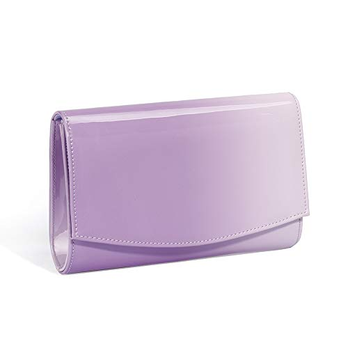 (Women Patent Leather Wallets Fashion Clutch Purses,WALLYN'S Evening Bag Handbag Solid Color (Lavender))
