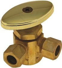 Durapro 101579 3-Way Dual Angle Stop Valve, 1/2'' Ips x 3/8'' Od x 3/8'' Od, Rough Brass, Lead Free by DuraPRO
