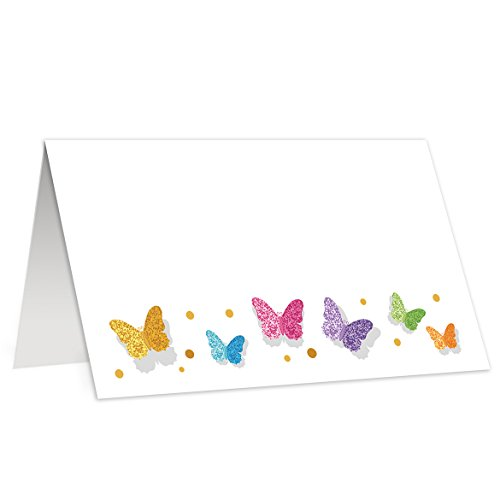 (Butterfly Place Cards Set of 50 Butterflies Event Decor Table Tent Food Buffet Label Blank Rainbow Pretty Party Decoration 3.5 x 2