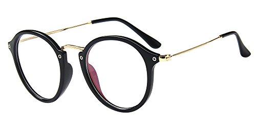 Claro Mujeres Marco Para Cateye Lentes de Anteojos Negro Gafas Metal Redondo Hombres Lectura Decoración Transparentes Retro Brillante Gafas Ultrafino BOZEVON de F5B1wg